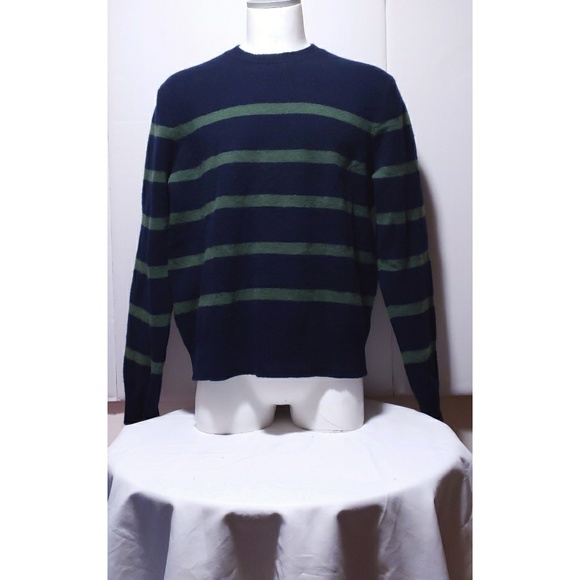 J. Crew Lambs Wool Striped Green & Blue Sweater